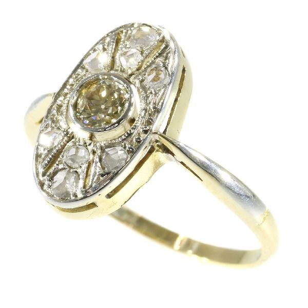 18 kt Gold - Ring, Starkes Art-Deco-Design, Anno 1920 - Diamant
