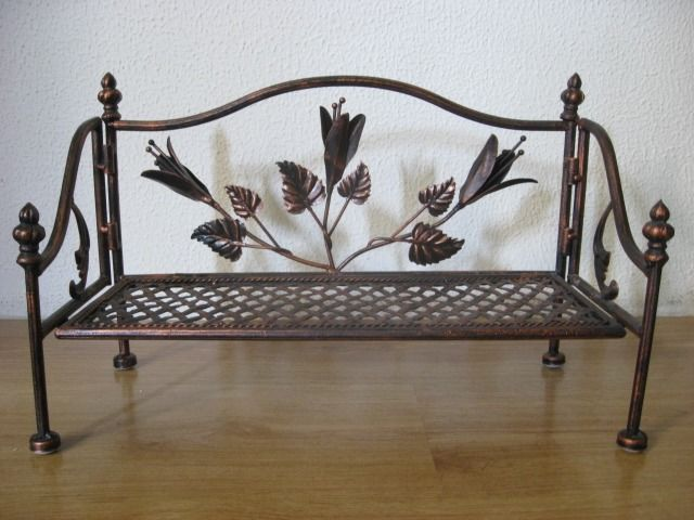 Two Separate Wrought Iron Benches, Floral Deco, - Iron (cast/wrought)