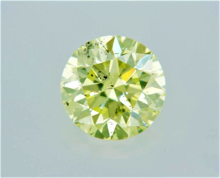 1 pcs Diamant - 0.51 ct - Rond - fancy yellowish green - SI1