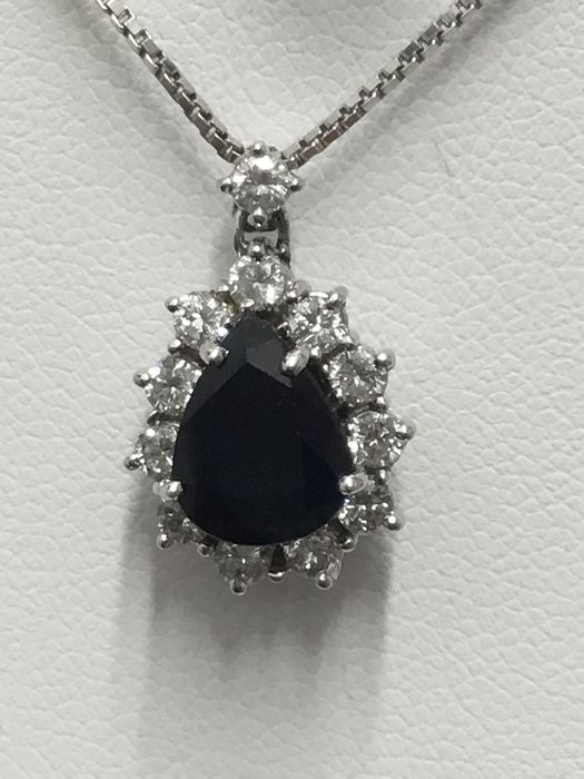 18 kt. White gold - Necklace with pendant - Diamonds, Sapphire