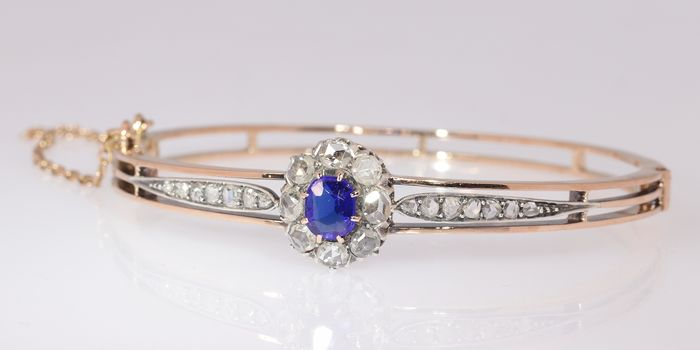 18 kt. Pink gold, Silver - Bracelet, Antique Victorian Gold Bangle set with Diamonds - Anno 1890 -  Diamond - Blue strass stone