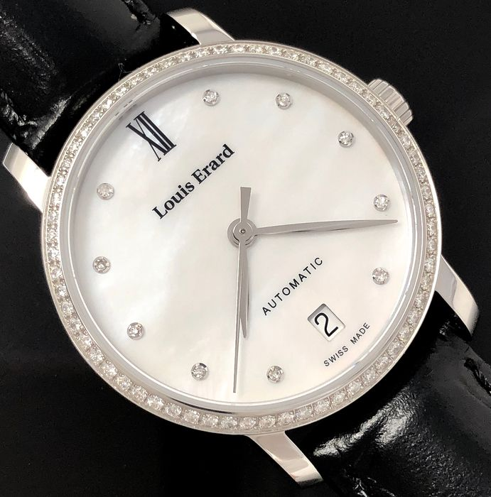 Louis Erard - Automatic Diamond White Mother of Pearl Dial Excellence Collection Swiss Made - 68235SE14.BDC62 - Donna - Brand New