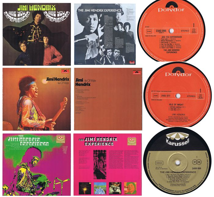 JIMI HENDRIX: 1. Are You Experienced (1967) - 2. Isle Of Wight (1970) 3. The J.H. Experience: Axis Bold As Love (1967) - (Lot of 3 LPs) - 1967/1970