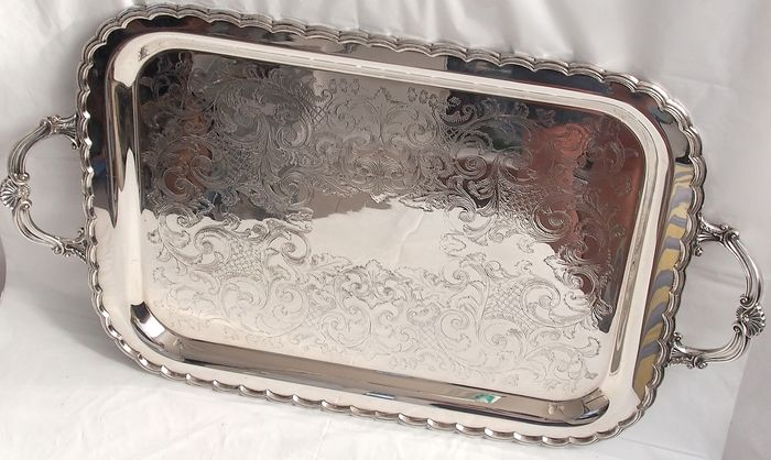 Large Canopy/drinks Tray By Oneida Canada - Silverplate