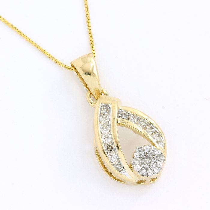 14 kt. Yellow gold - Necklace - 0.15 ct Diamond