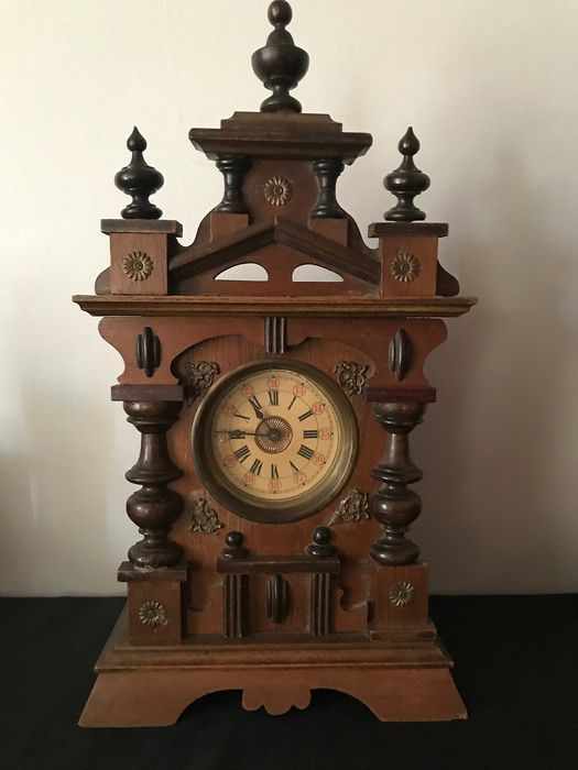 Great musical clock - Art Nouveau - Brass, Wood - Early 20th century