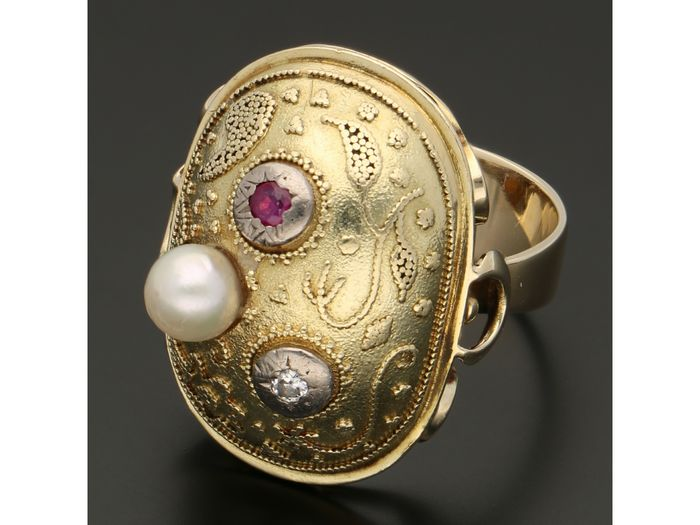 14 kt. Gold - Ring - 0.03 ct Diamond - Ruby - Pearl