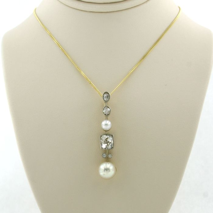 14 kt. White gold, Yellow gold - Necklace with pendant - 1.20 ct Diamond - Pearl