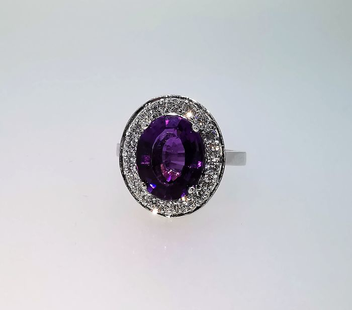 18 carats Or blanc - Bague - 4.29 ct Améthyste - Diamants
