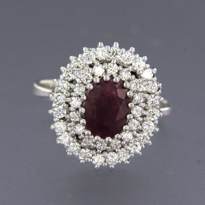 14 kt. White gold - Ring - 1.50 ct Ruby - Diamond