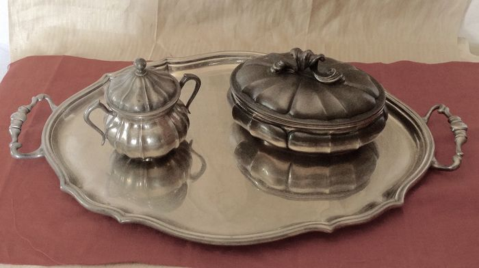3 Tableware: Tray - Candy holder - Sugar bowl - Louis XV - Pewter