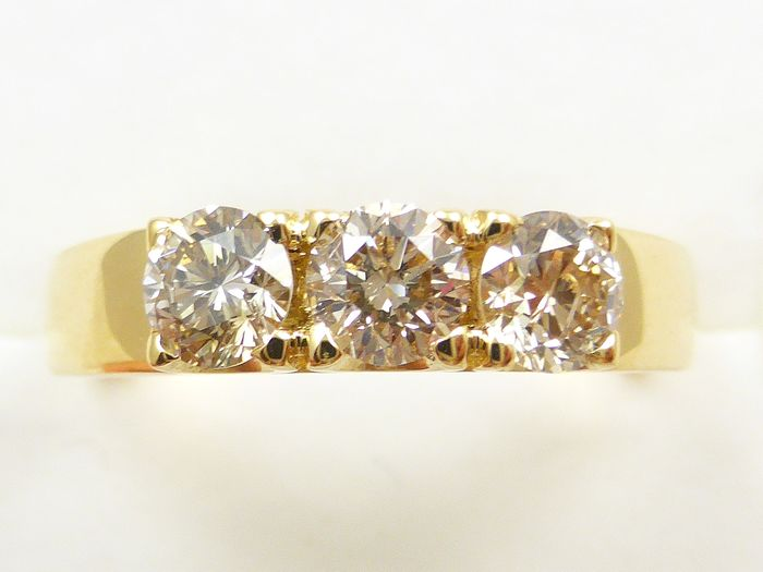 18 kt. Yellow gold - Ring - 0.80 ct Diamond