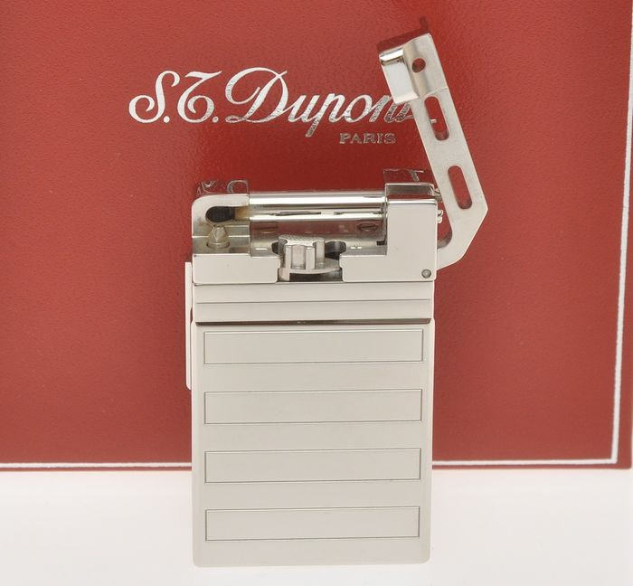 """S.T. Dupont - Hammer """"Urban"""" palladium lighter """"Rectangles"""" great condition with box"""