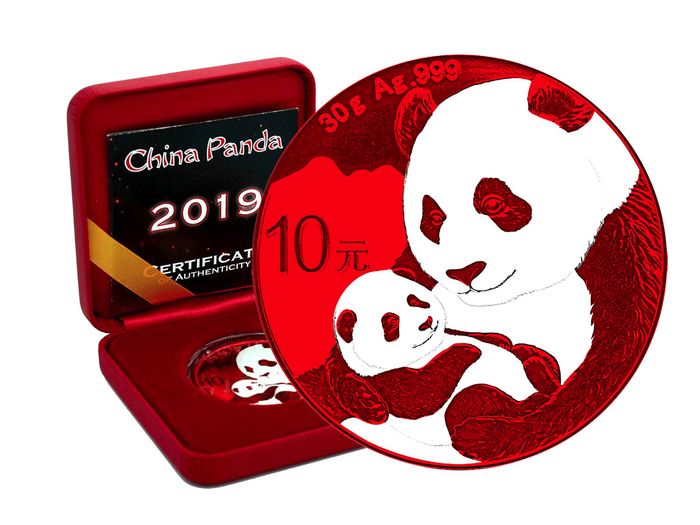 China - 10 Yuan 2019 Panda Space Red Edition in Box und CoA - Silber