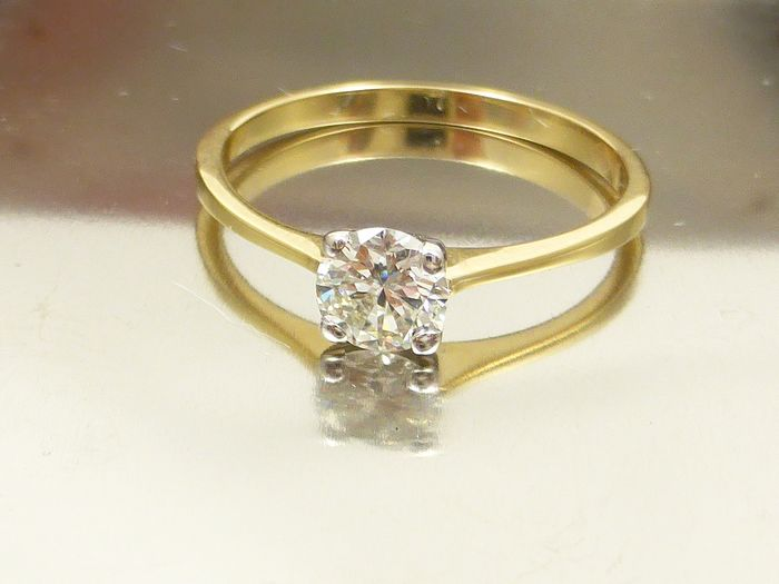 14 kt. White gold, Yellow gold - Ring - 0.45 ct Diamond