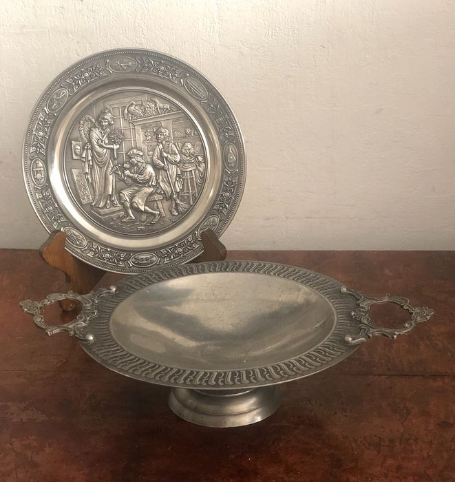 Fruit bowl and plate for wall - Pewter/Tin