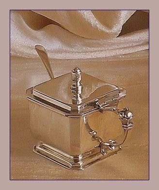 George VI Art Deco mustard pot with spoon - .925 silver - Joseph Rodgers and Sons /James and William Deakin - U.K. - 1937 / 1900
