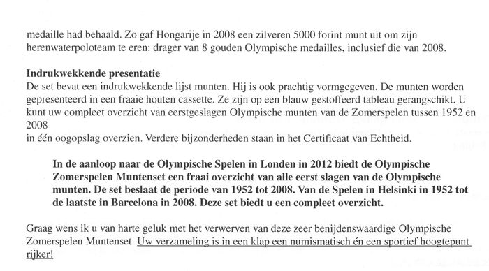 World - The Olympic Coin Collection 1952/2008 - Olympische Zomerspelen  Muntenset in Zilver 1952/2008 - Catawiki