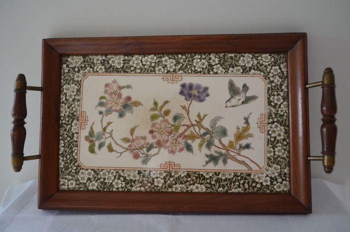 Old tray with floral motif (1) - wood mahogany, ceramic, copper