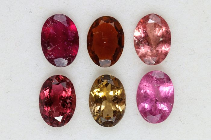 6 pcs  Tourmalines, Mix Colors - 4.10 ct