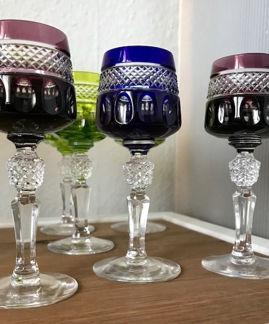 Nachtmann - 6 crystal hand cut liqueur glasses Empire wine glasses port glass shot glasses - Crystal