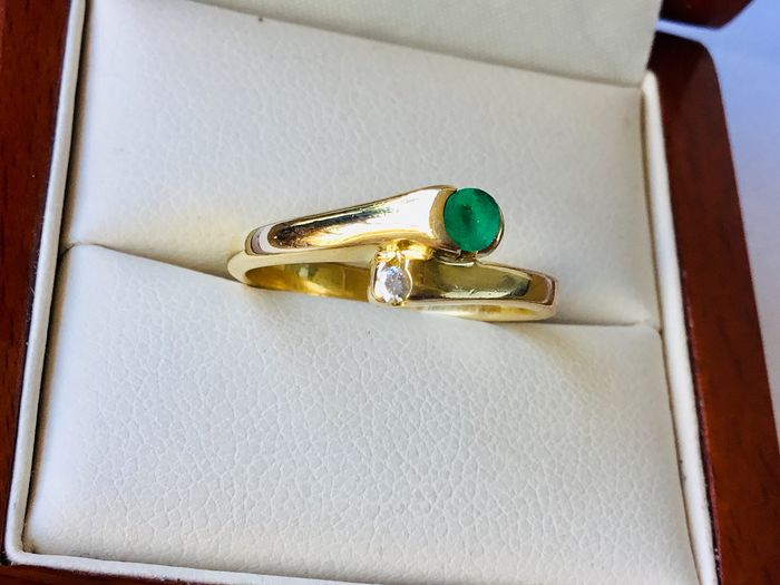 14 kt. Yellow gold - Ring - 0.20 ct Emerald - Diamond