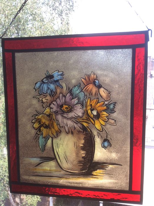 "Hand-stained window hanger ""Flowers in vase"" - Stained glass"