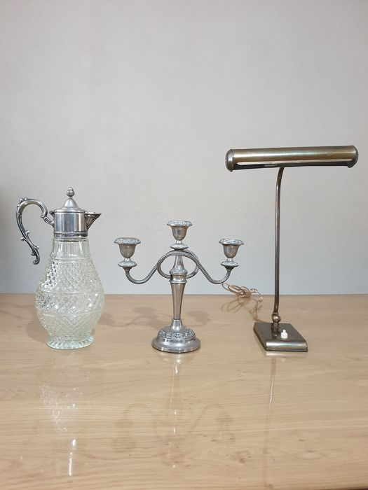 Glass milk jug + candleholder Old painting lamp Copper / brass (1) (2) - Copper, Glass