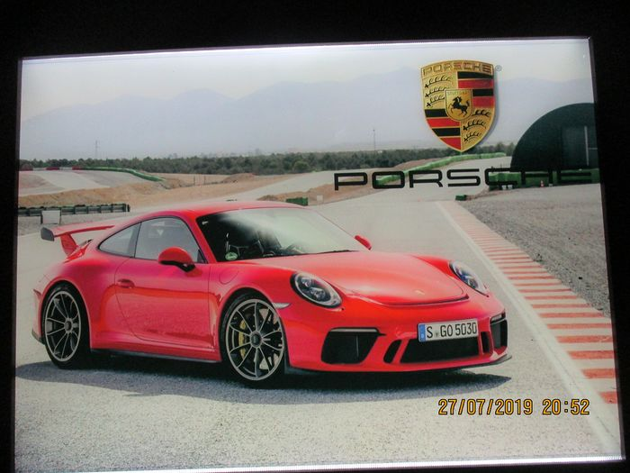 Decorative object - PORSCHE car image [80/60 / 3cm] - wooden frame - inside LED backlight - three layers of plexi - 2006-2012