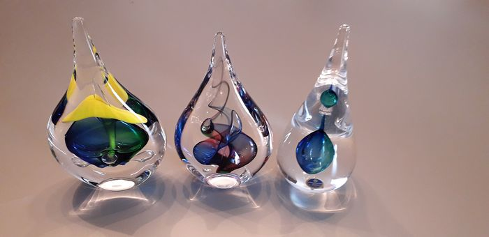 Ozzaro Collection & ArtCristal Bohemia - 3 Crystal Paperweight Drops - Crystal