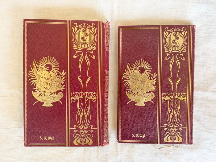 judaica - a prayer book( siddur) for Yom Kippur with German translation  (2) - Art Nouveau - leather & paper
