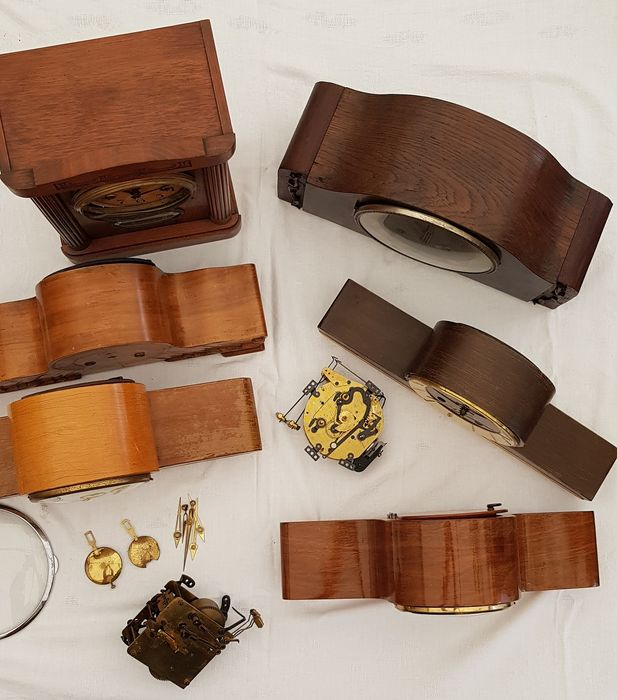 Table clocks, pedules, timepieces and div. components - Wood - 20th century