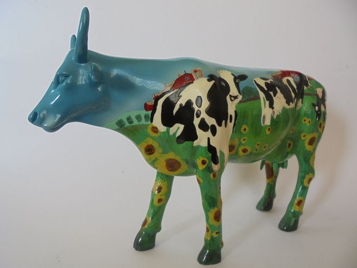 Collectors Item. Schitterende Koe mooi hand beschilderd bij Mary Beth Whalen - Cow Parade - large (1) - Abstract - Poly stone