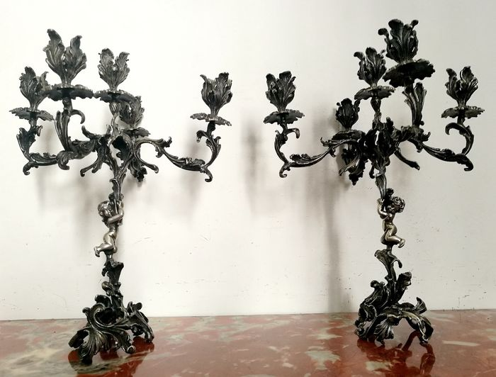 Museum Pair of Five Flame Art Nouveau Candelabra Decorated with Putti - .800 silver - Italy - First half 20th century
