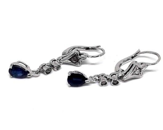 18 kt. White gold - Earrings - 0.70 ct Sapphire - Diamonds