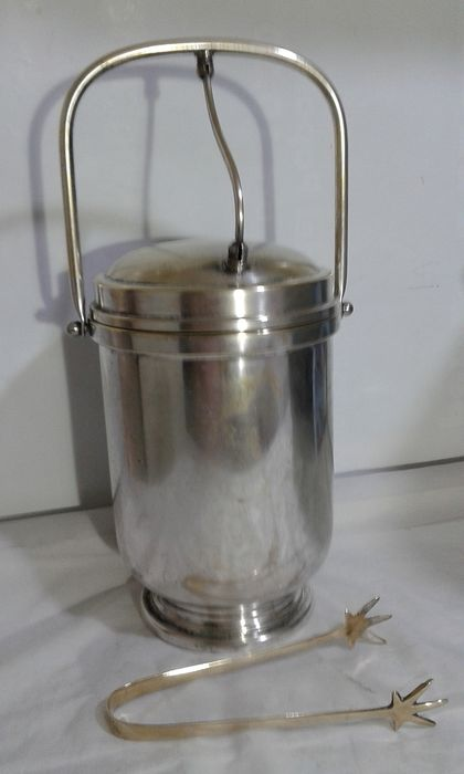 Thermos bucket and ice gripper - Art Deco - Silverplate