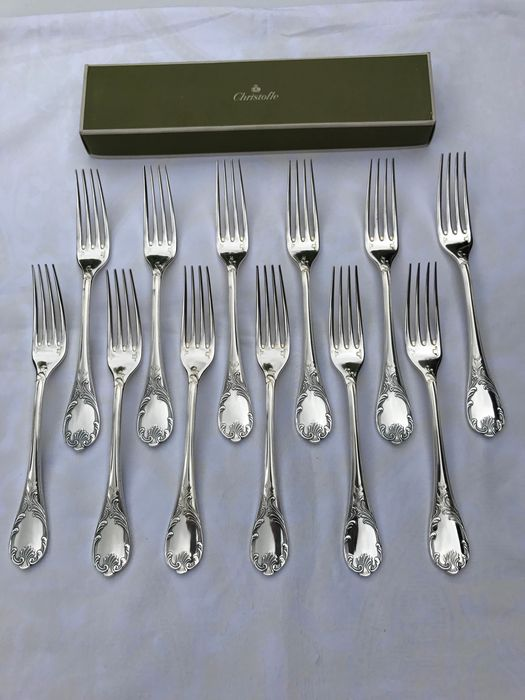 Christofle modèle Marly  - Forks for dinner (12) - Silver plated