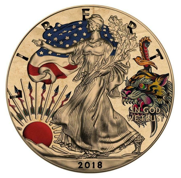 United States - 1 Dollar 2018 - Liberty American Traditional TATTOO Tiger Hunting - 1 Oz - Silver