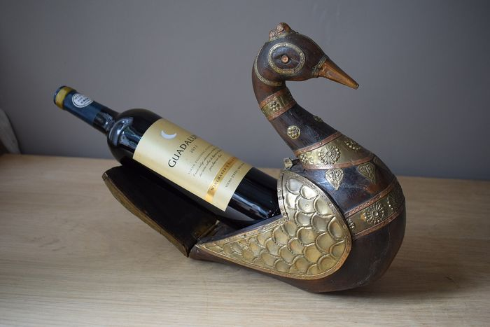 Goose - Wine bottle holder or trinkets box - Wood