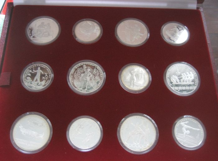 Russia - Olympic Games , Mockba (Mosca) 1980  complete series  10 Roubles (6) & 5 Roubles (6) - Silver