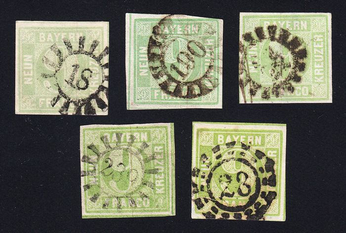 Bavaria 1851/1854 - 5 expertised values, all 5 colours, item mailed for non-philatelic purposes in according state of - Michel 5aa, 5b, 5a, 5c,5d