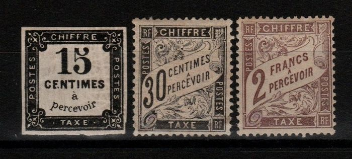 France 1863/1945 - Classic Postage due and Duval stamps, signed Calves N°4, 18 et 26