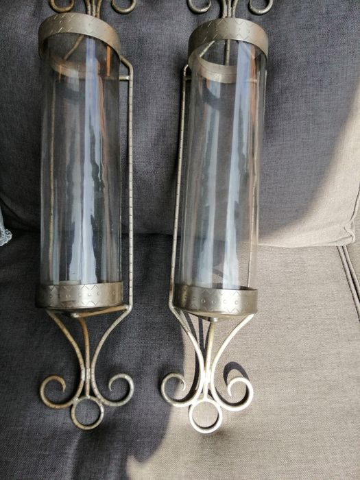 Two wall sconces - Pewter/Tin
