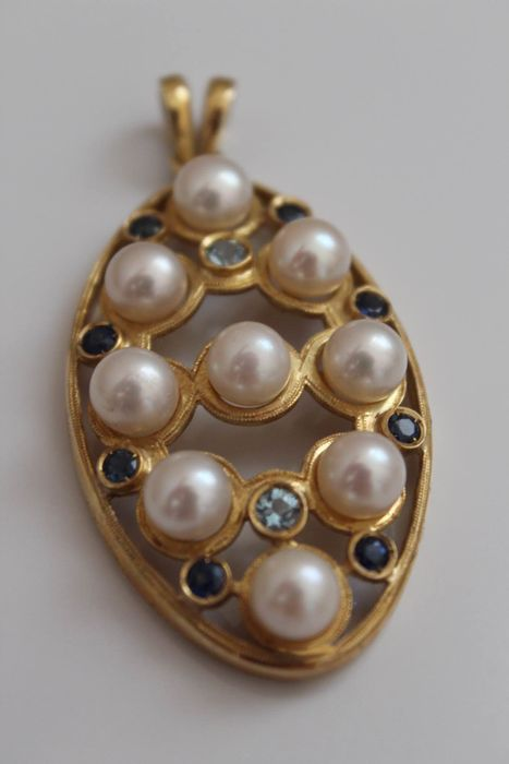 18 kt. Yellow gold - Pendant Mixed - Sapphires