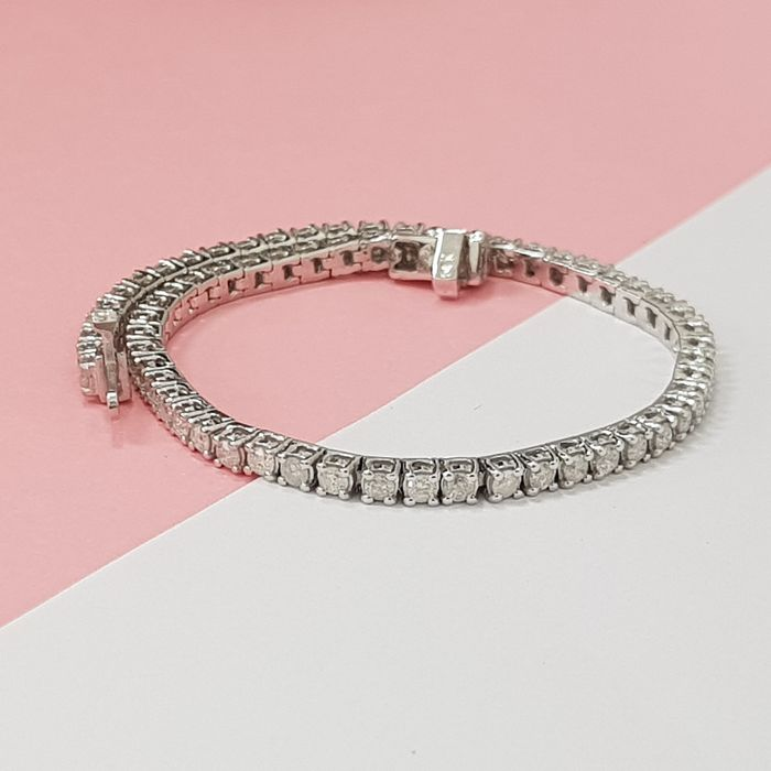 14 kt. White gold - Bracelet - 3.00 ct Diamond - Diamonds