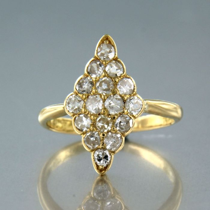 19,2 kt. Yellow gold - Ring - 0.80 ct Diamond
