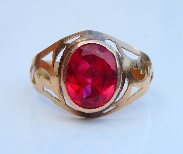 Sans réserve - 18 kt. Yellow gold - Ring Synthetic Ruby