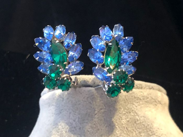 Gold-plated - Large Albert Weiss New York crystal earrings
