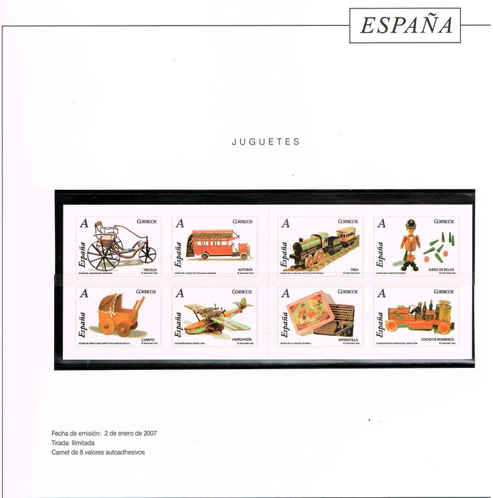 Spain 2007 - Complete year stamps + 2 postal stationery items mounted on Torres Cultural album - Edifil 4288/4359 + 2 E.P.