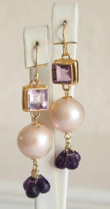 925 Silver - Earrings Amethyst - Pearls